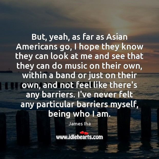 But, yeah, as far as Asian Americans go, I hope they know James Iha Picture Quote