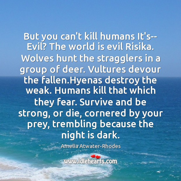 But you can't kill humans It's– Evil? The world is evil Risika. Image