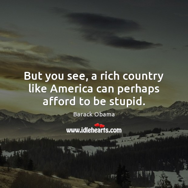 But you see, a rich country like America can perhaps afford to be stupid. Image
