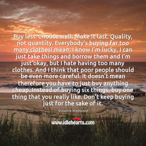 Buy less. Choose well. Make it last. Quality, not quantity. Everybody's Image