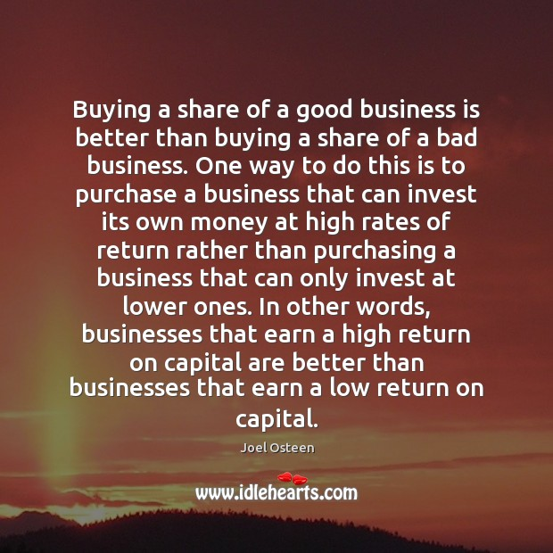 Image, Buying a share of a good business is better than buying a