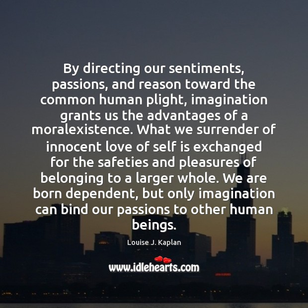 By directing our sentiments, passions, and reason toward the common human plight, Louise J. Kaplan Picture Quote