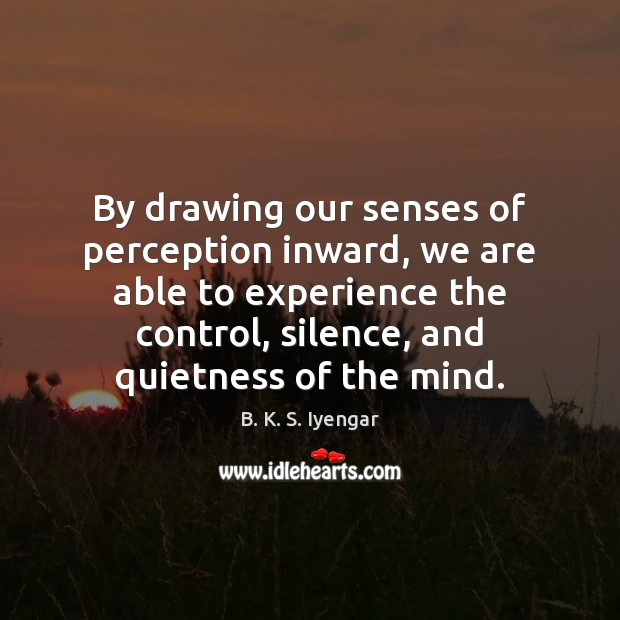 By drawing our senses of perception inward, we are able to experience B. K. S. Iyengar Picture Quote