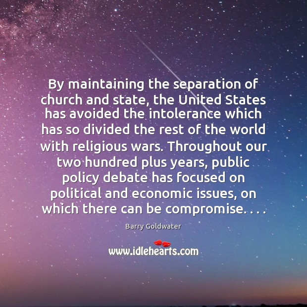 By maintaining the separation of church and state, the United States has Image