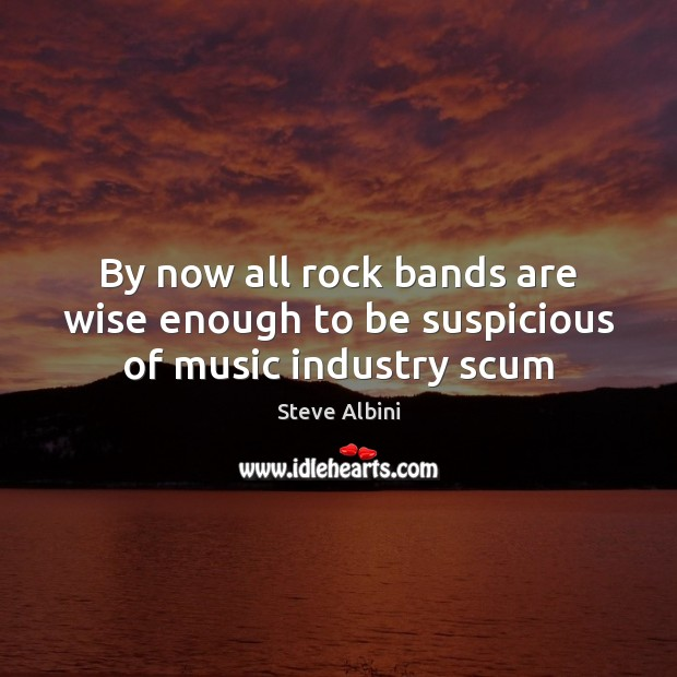 By now all rock bands are wise enough to be suspicious of music industry scum Steve Albini Picture Quote