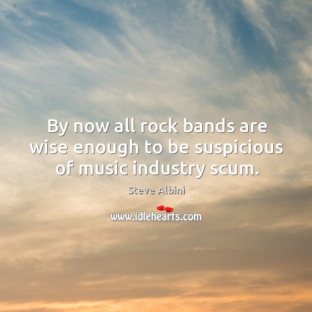 By now all rock bands are wise enough to be suspicious of music industry scum. Steve Albini Picture Quote