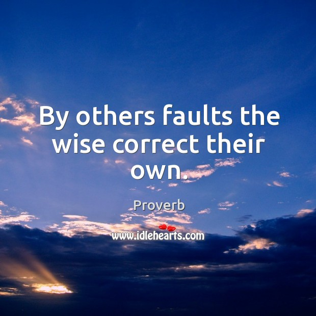 By others faults the wise correct their own. Image