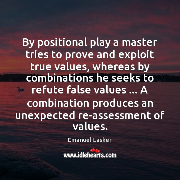 Image, By positional play a master tries to prove and exploit true values,