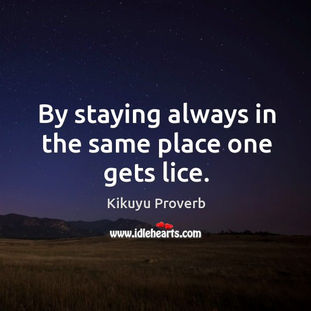 By staying always in the same place one gets lice. Kikuyu Proverbs Image