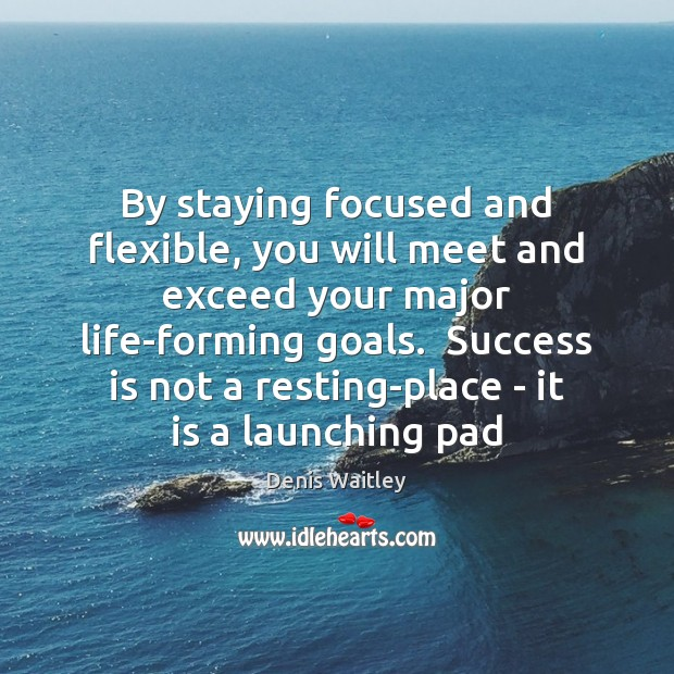 By staying focused and flexible, you will meet and exceed your major Denis Waitley Picture Quote