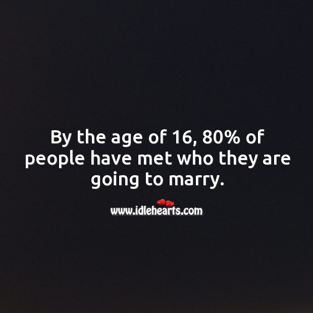 By the age of 16, 80% of people have met who they are going to marry. Image