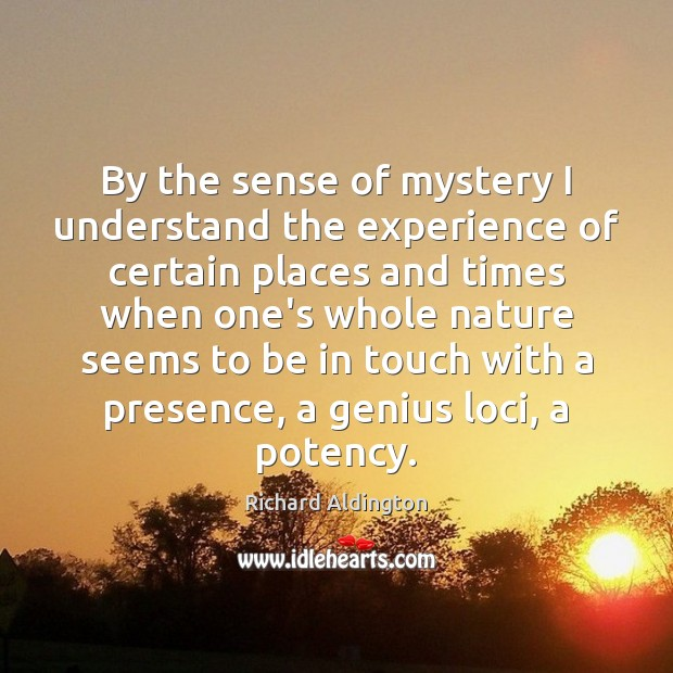 By the sense of mystery I understand the experience of certain places Image