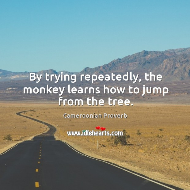 By trying repeatedly, the monkey learns how to jump from the tree. Cameroonian Proverbs Image