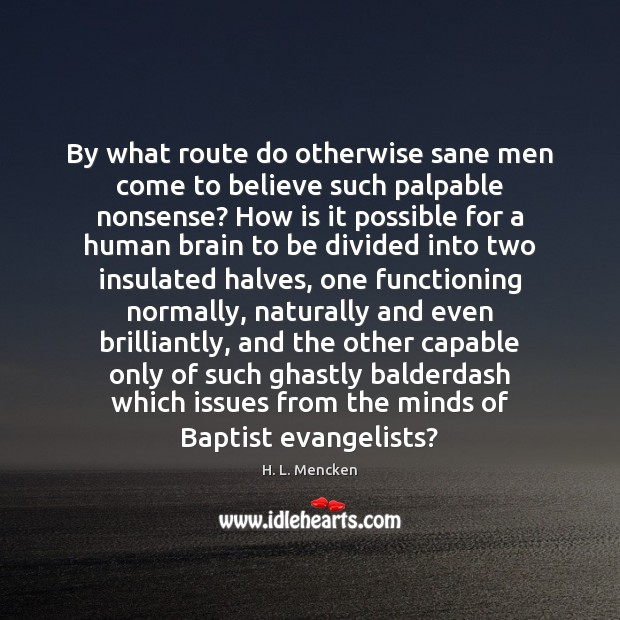 Image, By what route do otherwise sane men come to believe such palpable