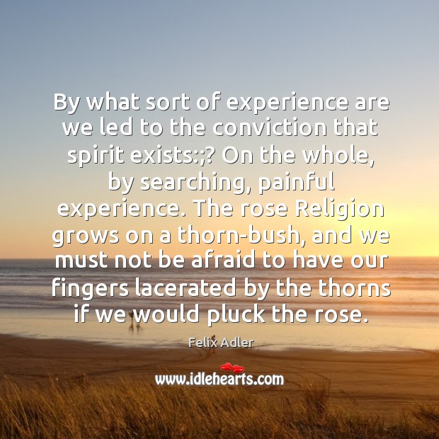 By what sort of experience are we led to the conviction that Felix Adler Picture Quote