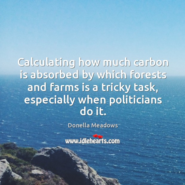 Calculating how much carbon is absorbed by which forests and farms is a tricky task, especially when politicians do it. Donella Meadows Picture Quote
