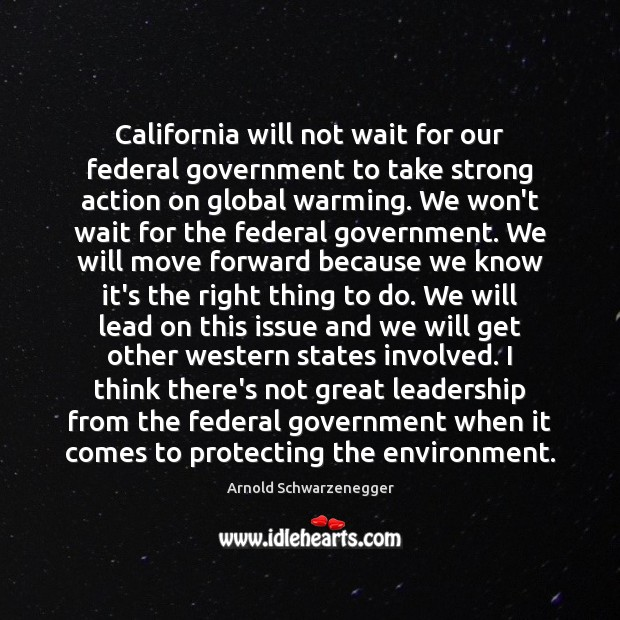 California will not wait for our federal government to take strong action Arnold Schwarzenegger Picture Quote