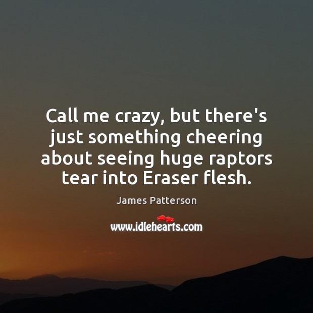 Call me crazy, but there's just something cheering about seeing huge raptors James Patterson Picture Quote