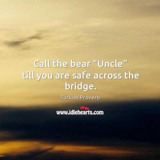"""Call the bear """"uncle"""" till you are safe across the bridge. Turkish Proverbs Image"""