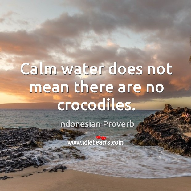 Calm water does not mean there are no crocodiles. Indonesian Proverbs Image