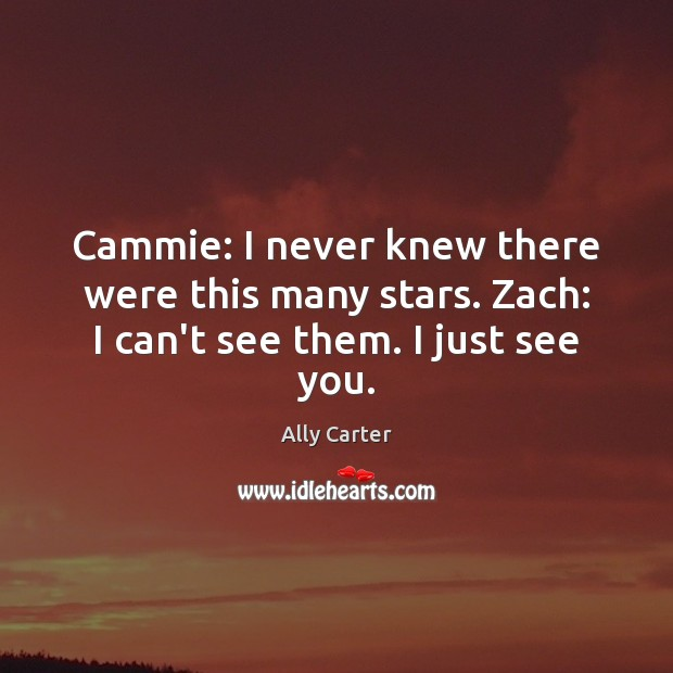 Cammie: I never knew there were this many stars. Zach: I can't see them. I just see you. Ally Carter Picture Quote