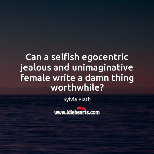 Image, Can a selfish egocentric jealous and unimaginative female write a damn thing worthwhile?