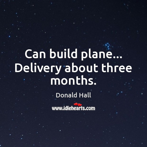 Image, Can build plane… Delivery about three months.