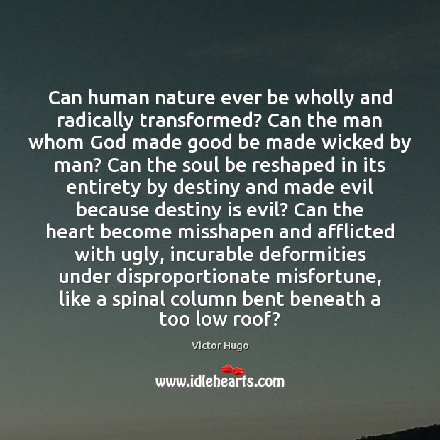 Can human nature ever be wholly and radically transformed? Can the man Image