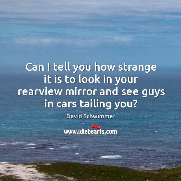 Can I tell you how strange it is to look in your rearview mirror and see guys in cars tailing you? David Schwimmer Picture Quote