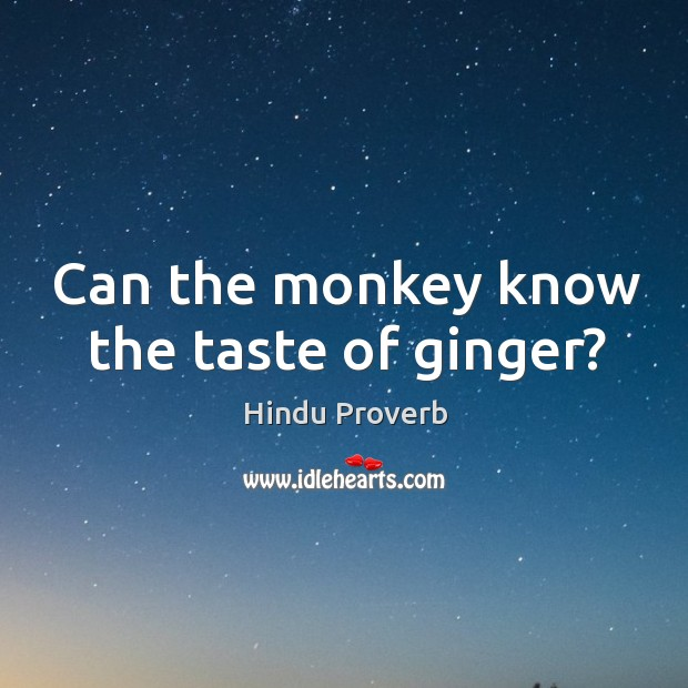 Can the monkey know the taste of ginger? Hindu Proverbs Image