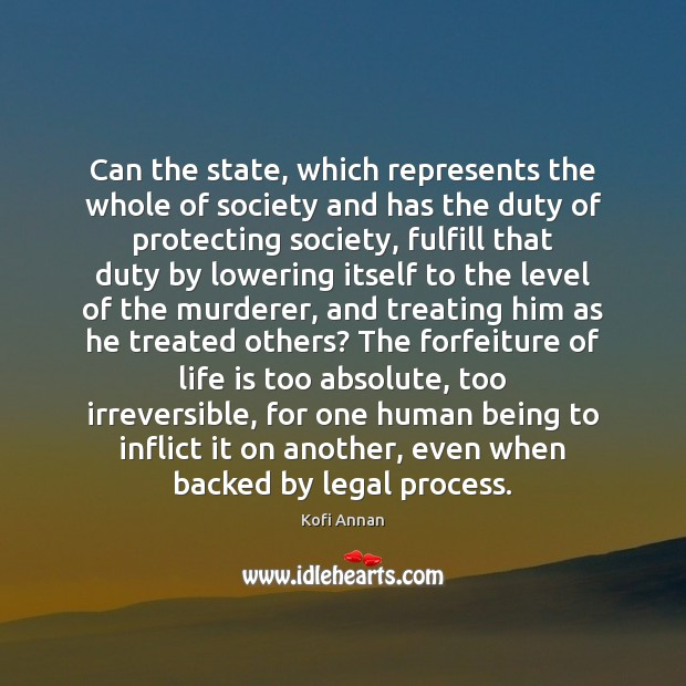 Can the state, which represents the whole of society and has the Kofi Annan Picture Quote