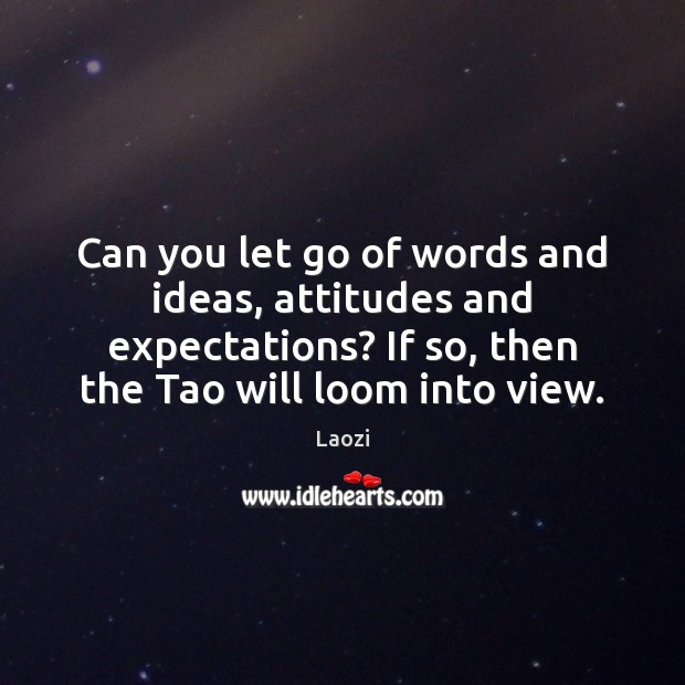 Can you let go of words and ideas, attitudes and expectations? If Laozi Picture Quote
