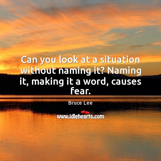 Image, Can you look at a situation without naming it? Naming it, making it a word, causes fear.