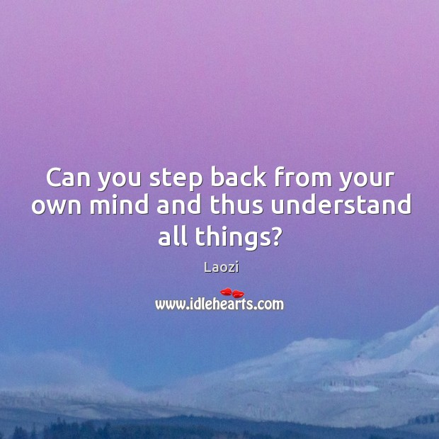 Image, Can you step back from your own mind and thus understand all things?