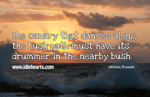 The canary that dances along the bush path must have its drummer in the nearby bush. African Proverbs Image