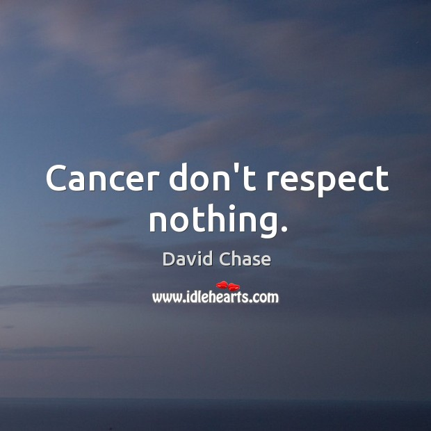 Cancer don't respect nothing. David Chase Picture Quote