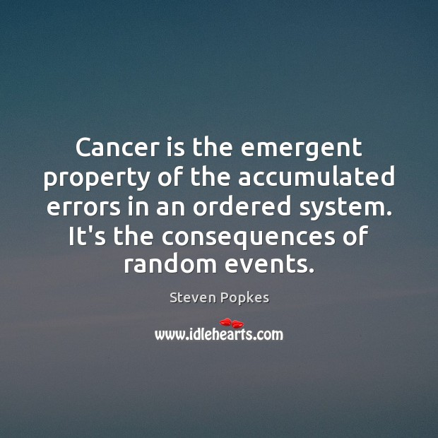 Cancer is the emergent property of the accumulated errors in an ordered Image