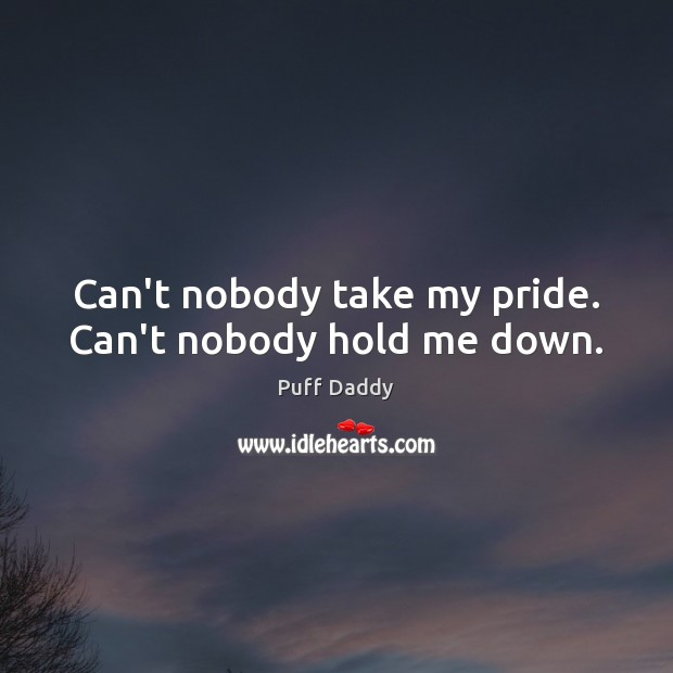 Can\'t nobody take my pride. Can\'t nobody hold me down.