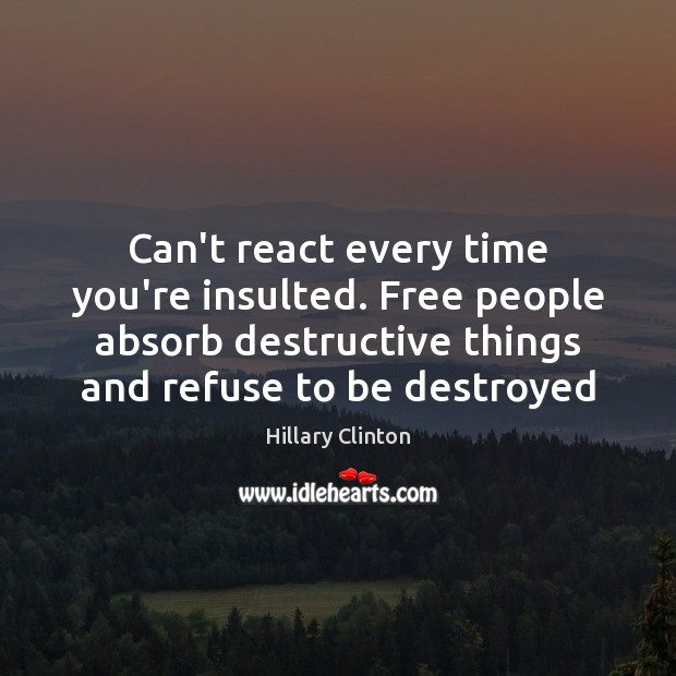 Can't react every time you're insulted. Free people absorb destructive things and Image