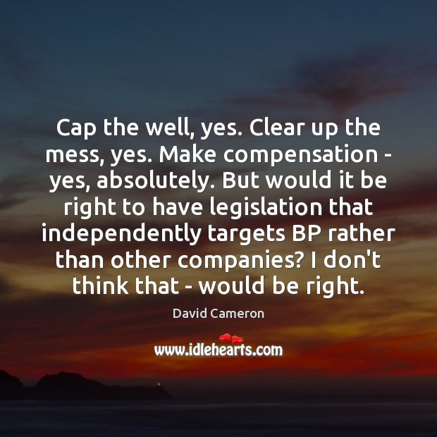 Image, Cap the well, yes. Clear up the mess, yes. Make compensation –