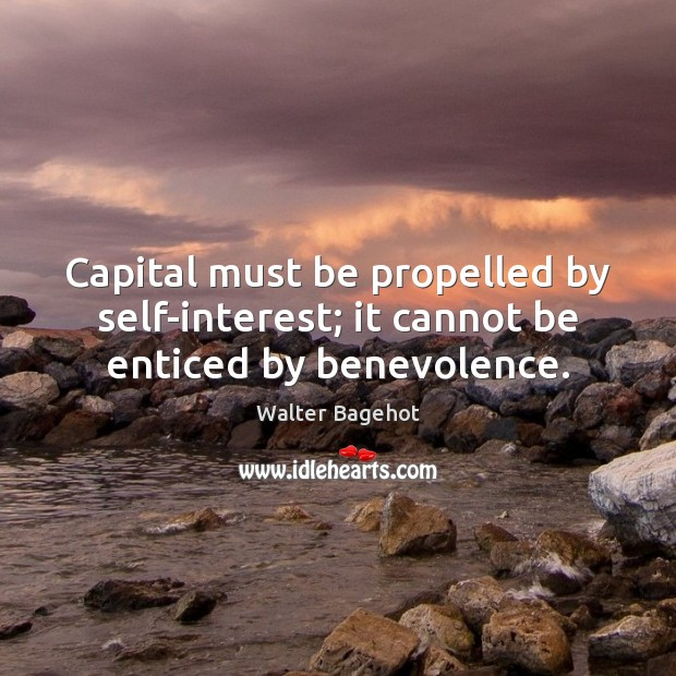 Image, Capital must be propelled by self-interest; it cannot be enticed by benevolence.