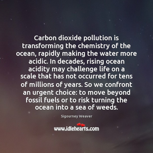 Carbon dioxide pollution is transforming the chemistry of the ocean, rapidly making Sigourney Weaver Picture Quote
