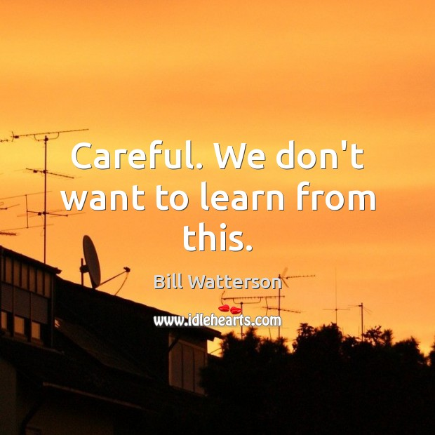 Careful. We don't want to learn from this. Bill Watterson Picture Quote