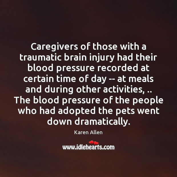 Caregivers of those with a traumatic brain injury had their blood pressure Image