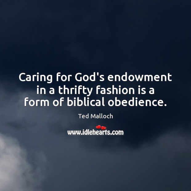 Caring for God's endowment in a thrifty fashion is a form of biblical obedience. Ted Malloch Picture Quote