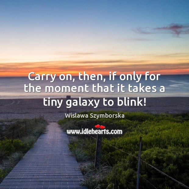 Carry on, then, if only for the moment that it takes a tiny galaxy to blink! Wislawa Szymborska Picture Quote