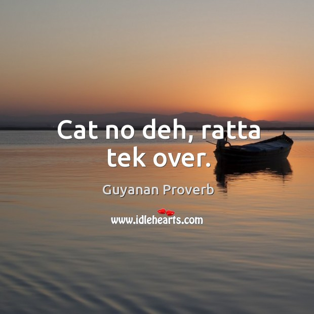 Cat no deh, ratta tek over. Guyanan Proverbs Image