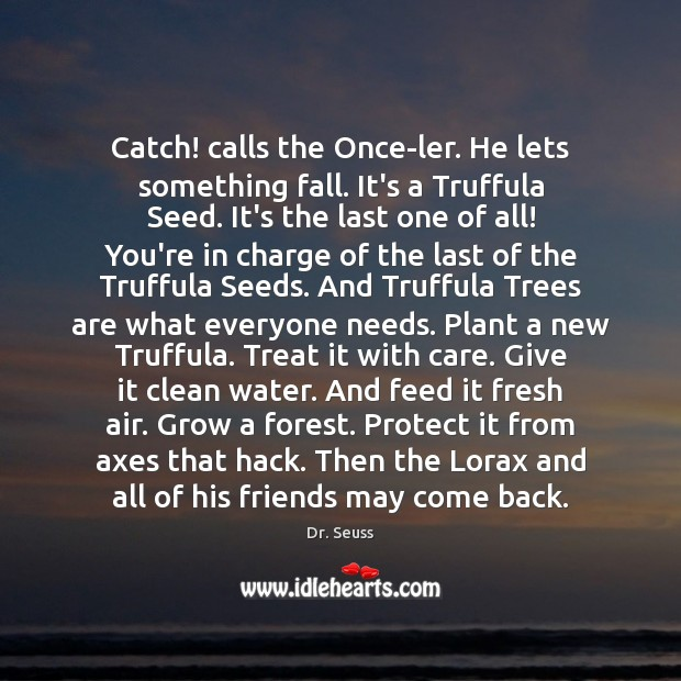 Catch! calls the Once-ler. He lets something fall. It's a Truffula Seed. Image