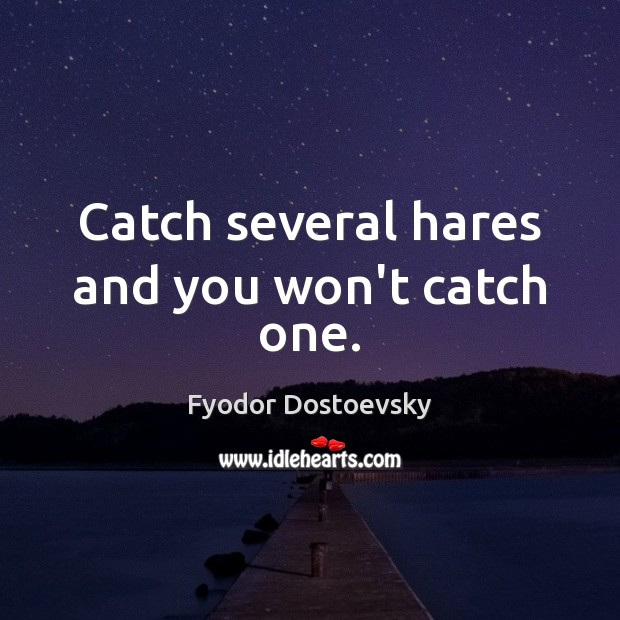 Image, Catch several hares and you won't catch one.
