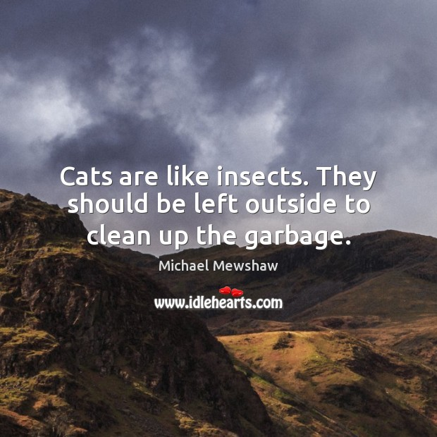 Cats are like insects. They should be left outside to clean up the garbage. Image